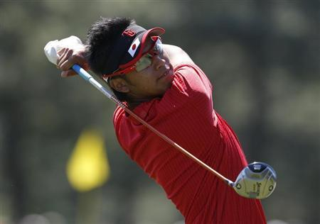 Amateur Hideki Matsuyama of Japan hits his tee shot on the third hole during final round play in the 2012 Masters Golf Tournament at the Augusta National Golf Club in Augusta, Georgia, April 8, 2012. REUTERS/Phil Noble