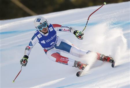 Tina Weirather of Liechtenstein speeds down during the women's Alpine Skiing World Cup super-G race in Garmisch-Partenkirchen March 1, 2013. REUTERS/Wolfgang Rattay