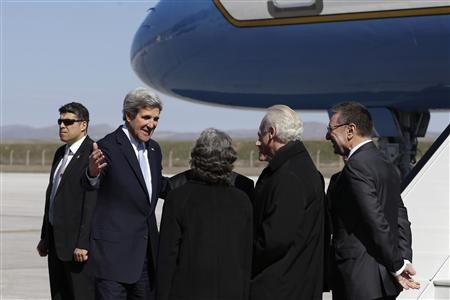 U.S. Secretary of State John Kerry (2nd L) is greeted upon arriving in Ankara, March 1, 2013. REUTERS/Jacquelyn Martin/Pool