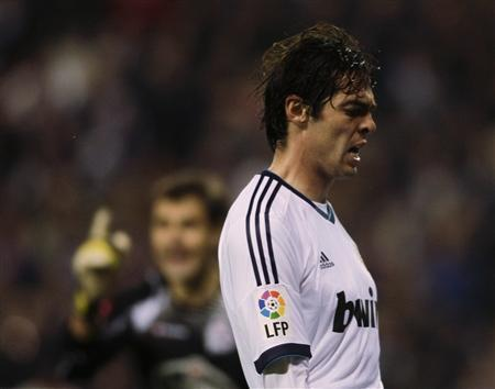 Real Madrid's Kaka reacts during their Spanish First Division soccer match against Deportivo La Coruna at the Riazor stadium in Coruna February 23, 2013. REUTERS/Miguel Vidal