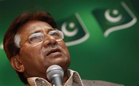 The former President of Pakistan, Pervez Musharraf, speaks at a news conference at a branch of his political party in east London January 19, 2012. REUTERS/Andrew Winning