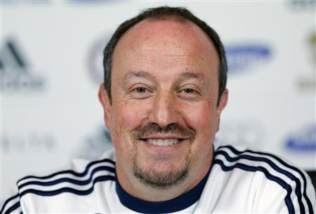 Chelsea's interim manager Rafael Benitez smiles during a news conference at the team's training facility in Stoke D'Abernon, just south of London, March 1, 2013. REUTERS/Andrew Winning