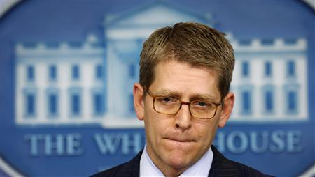 White House press secretary Jay Carney speaks to reporters about the so-called ''sequester'' at the White House in Washington February 28, 2013. REUTERS/Kevin Lamarque