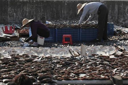 Workers lay out pieces of shark fin to dry on a rooftop of a factory building in Hong Kong January 2, 2013. REUTERS/Bobby Yip/Files