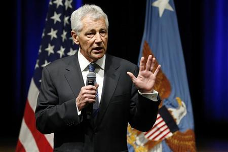 U.S. Secretary of Defense Chuck Hagel speaks to service members and civilian employees on his first day in his new post after being sworn in, at the Pentagon in Arlington, Virginia, February 27, 2013. REUTERS/Jonathan Ernst