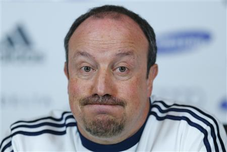 Chelsea's interim manager Rafael Benitez reacts during a news conference at the team's training facility in Stoke D'Abernon, southern England March 1, 2013. REUTERS/Andrew Winning
