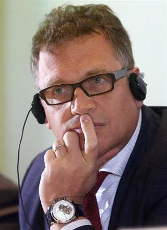 FIFA Secretary General Jerome Valcke listens to a question during a news conference before the launch of the 2014 World Cup poster in Rio de Janeiro January 30, 2013. REUTERS/Sergio Moraes