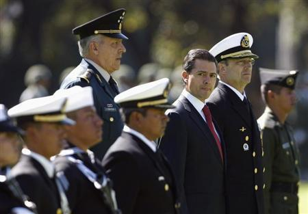 Mexico's President Enrique Pena Nieto (3rd R) looks on during Flag Day celebrations at Campo Marte in Mexico City February 24, 2013. REUTERS/Bernardo Montoya