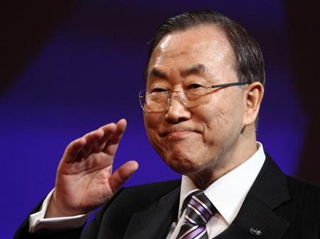 U.N. Secretary General Ban Ki-moon waves at the beginning of the fifth United Nations Alliance of Civilizations (UNAOC) Forum in Vienna February 27, 2013. REUTERS/Heinz-Peter Bader