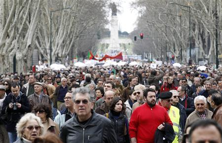 People march against government austerity policies in Lisbon March 2, 2013. REUTERS/Jose Manuel Ribeiro