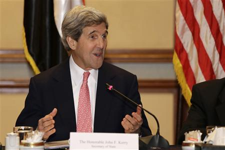 U.S. Secretary of State John Kerry speaks to the media at the start of a meeting with business leaders in Cairo March 2, 2013. REUTERS/Jacquelyn Martin/Pool