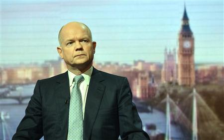 Britain's Foreign Secretary William Hague appears on the broadcast of the Andrew Marr Show at BBC studios in London March 3, 2013. REUTERS/Jeff Overs/BBC/handout