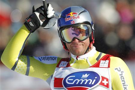 Aksel Lund Svindal of Norway reacts at the finish of the Alpine Skiing World Cup downhill race in Kvitfjell March 2, 2013. REUTERS/Geir Olsen/NTB Scanpix