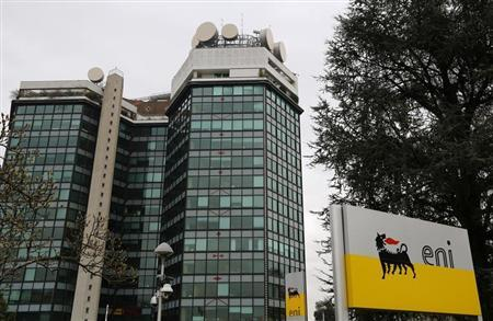 The logo of oil company Eni is pictured at its San Donato Milanese headquarters near Milan February 5, 2013. REUTERS/Stefano Rellandini