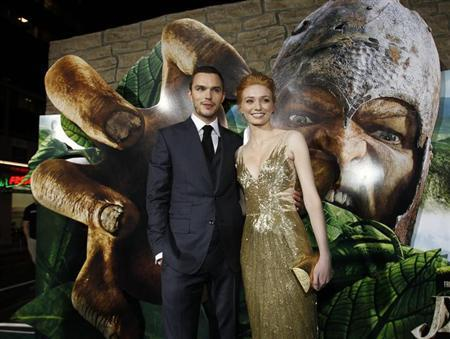 Cast members Nicholas Hoult and Eleanor Tomlinson pose at the premiere of ''Jack the Giant Slayer'' in Hollywood, California February 26, 2013. The movie opens in the U.S. on March 1. REUTERS/Mario Anzuoni