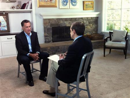 Former Republican presidential candidate Mitt Romney (L) speaks with FOX News Sunday's Chris Wallace at his son's home in San Diego, California for his first post-election interview in this February 28, 2013 FOX News Sunday handout photo obtained by Reuters March 1, 2013. REUTERS/FOX News Channel/FOX News Sunday/Handout