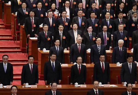 China's President Hu Jintao (2nd row, 2nd L), China's Communist Party Chief Xi Jinping (2nd row, 3rd L), China's Premier Wen Jiabao (2nd row, 3rd R), China's Vice-Premier Li Keqiang (2nd row, 2nd R) and other top leaders and delegates sing the national anthem during the opening ceremony of the Chinese People's Political Consultative Conference (CPPCC) at the Great Hall of the People in Beijing March 3, 2013. REUTERS/Jason Lee