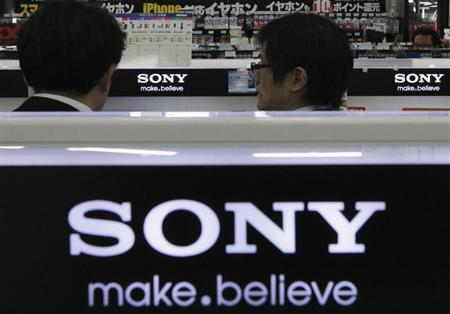 The logos of Sony Corp. are seen at an electronic store in Tokyo February 6, 2013. REUTERS/Shohei Miyano