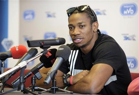 Sprinter Yohan Blake of Jamaica addresses a news conference during the upcoming Memorial Van Damme, IAAF Diamond League athletics meeting, in Brussels September 12, 2011. REUTERS/Eric Vidal