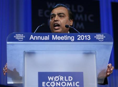 Mukesh Ambani Chairman and Managing Director of Reliance Industries addresses delegates during the annual meeting of the World Economic Forum (WEF) in Davos January 25, 2013. REUTERS/Pascal Lauener/Files