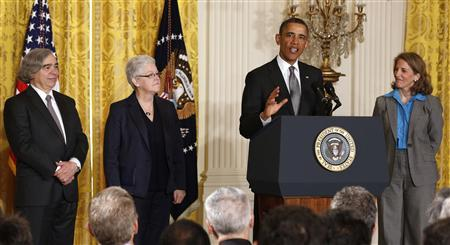 U.S. President Barack Obama (2nd R) nominates (from L-R) nuclear physicist Ernest Moniz to lead the Department of Energy, air quality expert Gina McCarthy to lead the Environmental Protection Agency, and Walmart's Sylvia Mathews Burwell to become director of the White House budget office, in the East Room of the White House in Washington, March 4, 2013. REUTERS/Larry Downing