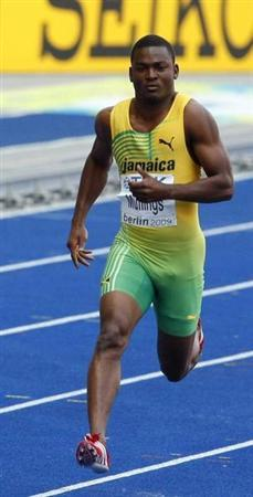 Steve Mullings of Jamaica competes in the men's 200 metres heats during the World Athletics Championships at the Olympic stadium in Berlin in this August 18, 2009 file photo. REUTERS/Phil Noble/Files