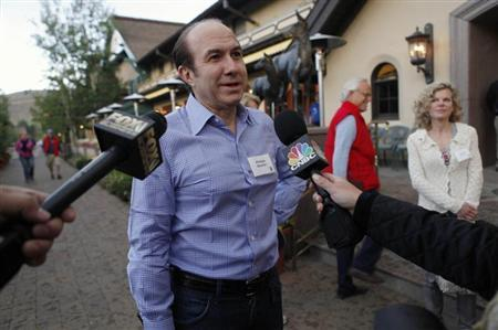 Chief Executive of Viacom Philippe Dauman speaks to reporters as he attends the Allen & Co Media Conference in Sun Valley, Idaho July 11, 2012. REUTERS/Jim Urquhart