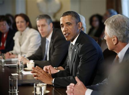 U.S. President Barack Obama participates in his first cabinet meeting of his second term in the Cabinet Room of the White House in Washington, March 4, 2013. REUTERS/Jason Reed