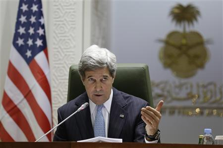 U.S. Secretary of State John Kerry speaks during a news conference with Prince Saud al-Faisal (not pictured) at the Ministry of Foreign Affairs in Riyadh March 4, 2013. REUTERS/Jacquelyn Martin/Pool