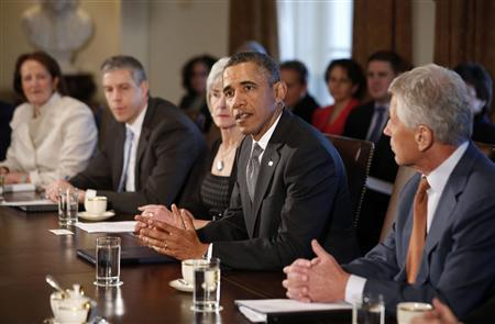 U.S. President Barack Obama participates in the first cabinet meeting of his second term in the Cabinet Room of the White House in Washington, March 4, 2013. REUTERS/Jason Reed