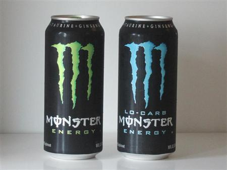 Two cans of Monster Energy drink are pictured in this photo-illustration shot in Los Angeles October 22,2012. REUTERS/Fred Prouser