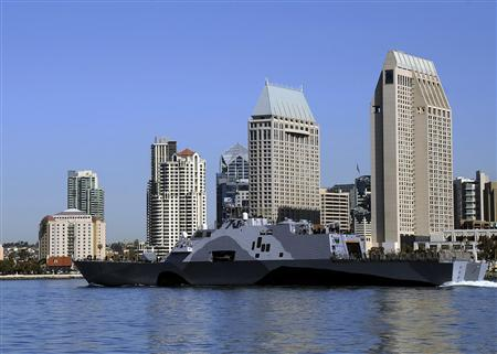 The littoral combat ship USS Freedom (LCS 1) departs for a deployment to the Asia-Pacific region, in San Diego Bay, California, March 1, 2013. REUTERS/ U.S. Navy/Mass Communication Specialist 3rd Class Christine Walker-Singh/Handout