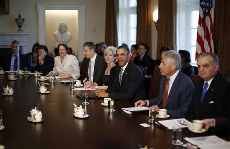 U.S. President Barack Obama participates in his first cabinet meeting of his second term in the Cabinet Room of the White House in Washington, March 4, 2013. Pictured with Obama are Transportation Secretary Ray LaHood (R), Secretary of Defense Chuck Hagel (2nd R), Health and Human Services Secretary Kathleen Sebelius (4th R) and Education Secretary Arne Duncan (5th R). REUTERS/Jason Reed