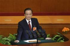China's Premier Wen Jiabao delivers a speech during the opening ceremony of National People's Congress (NPC) at the Great Hall of the People in Beijing, March 5, 2013. REUTERS/Jason Lee