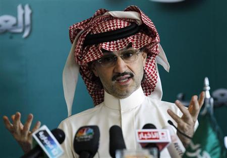 Saudi billionaire Prince Alwaleed bin Talal speaks at a news conference in Riyadh September 13, 2011. REUTERS/Fahad Shadeed
