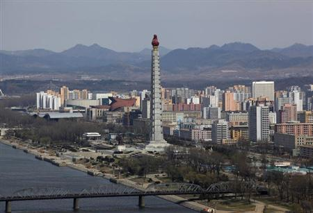 The 170-meter-high Tower of the Juche Idea, named after the principle of Juche and developed by North Korea founder Kim Il-sung, is seen at the eastern bank of the Taedong River in Pyongyang April 11, 2012. REUTERS/Bobby Yip