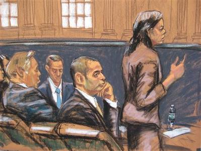 Federal Defender Julia Gatto (R) speaks to the court as former New York City police officer Gilberto Valle (C), dubbed by local media as the ''Cannibal Cop'', listens in this courtroom sketch on the first day of his trial in New York February 25, 2013. REUTERS/Jane Rosenburg