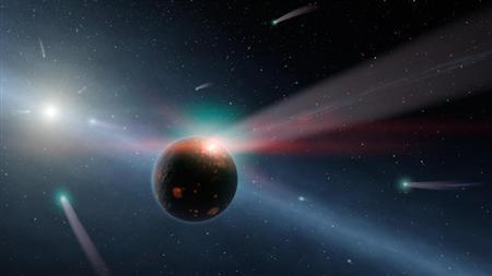 NASA undated handout image shows an artist's conception of a storm of comets around a star near our own, called Eta Corvi. REUTERS/NASA/JPL-Caltech/Handout