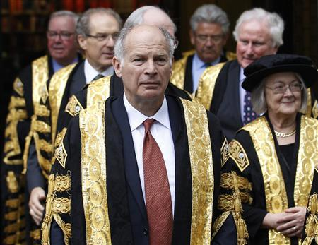 President of the Supreme Court, David Neuberger (L), walks with fellow judges to Westminster Abbey for a service to mark the start of the legal year, London October 1, 2012. REUTERS/Luke MacGregor