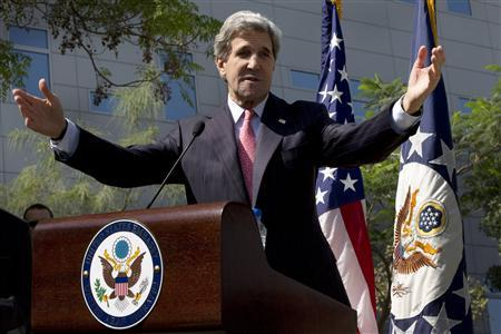 U.S. Secretary of State John Kerry gestures during a speech before leaving for Qatar on his first official overseas trip as secretary of state at the U.S. Embassy in Abu Dhabi, March 5, 2013. REUTERS/Jacquelyn Martin/Pool