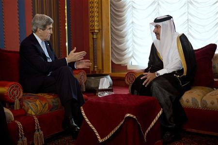 U.S. Secretary of State John Kerry (L) meets with Qatari Prime Minister and Foreign Minister Sheikh Hamad bin Jassim Al Thani at the Wajbah Palace in Doha March 5, 2013. REUTERS/Jacquelyn Martin/Pool (QATAR - Tags: POLITICS)