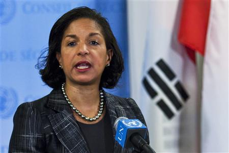 U.S. Ambassador to the United Nations Susan Rice speaks to the media at the U.N. headquarters in New York February 12, 2013. REUTERS/Eduardo Munoz