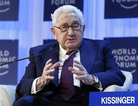 Henry Kissinger, chairman of Kissinger Associates, speaks during the annual meeting of the World Economic Forum (WEF) in Davos January 24, 2013. REUTERS/Pascal Lauener