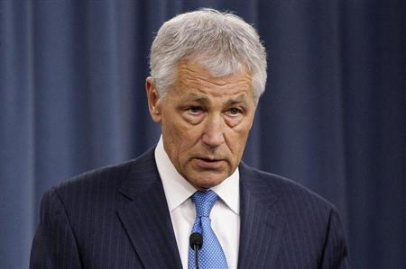U.S. Secretary of Defense Chuck Hagel speaks during a news conference about the effects of the 'sequester' on military operations, at the Pentagon in Arlington, Virginia, March 1, 2013. REUTERS/Jonathan Ernst