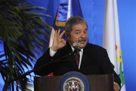 Brazil's former President Luiz Inacio Lula da Silva speaks during a ceremony for the Annual National Award for Youth, an event organised by the Ministry of Youth, at the National Palace of the Dominican Republic in Santo Domingo January 31, 2013. REUTERS/Ricardo Rojas