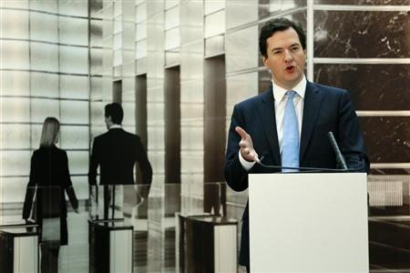 Britain's Chancellor of the Exchequer George Osborne speaks at JP Morgan in Bournemouth, southern England February 4, 2013. REUTERS/Stefan Wermuth