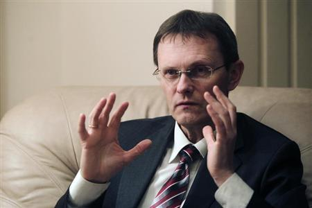 Latvia's Minister of Finance Andris Vilks gestures during an interview in Riga December 17, 2012. REUTERS/Ints Kalnins