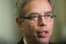 Joe Oliver, Canada's Minister of Natural Resources, talks to media after speaking at the Canadian Aboriginal Minerals Association's 20th Anniversary Conference in Toronto, November 19, 2012. REUTERS/Brett Gundlock