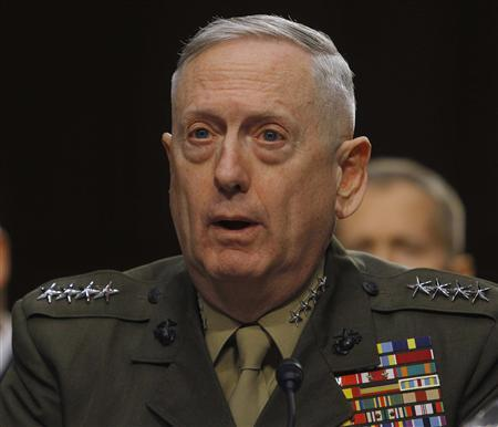 U.S. Marine Corps General James Mattis testifies before the Senate Armed Services Committee in Washington March 5, 2013, with regard to the Defense Authorization Request for fiscal year 2014. REUTERS/Gary Cameron