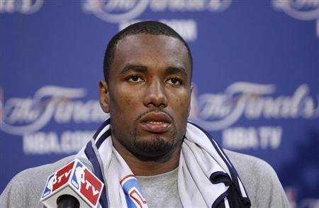 Oklahoma Thunder's Serge Ibaka speaks to the media before practice for Game 3 of the NBA basketball finals in Miami, Florida June 16, 2012. REUTERS/Andrew Innerarity